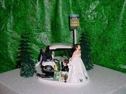 golf cart sports fan groom fun green wedding cake topper dress