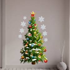 28 christmas tree wall mural christmas wall decals happy christmas tree wall mural christmas tree stars removable wall stickers art decals