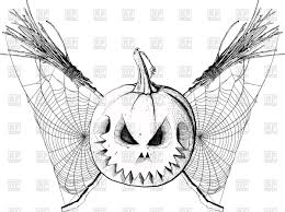 halloween scariest stories halloween pumpkin and two crossed brooms with spider web scary