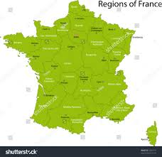 France Region Map by Green France Map Regions Main Cities Stock Vector 33001711