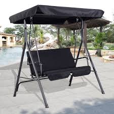 Two Person Swing Chair Furniture Patio Glider With Canopy Completed By Bedding Cushion