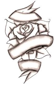drawn cross ribbon rose pencil and in color drawn cross ribbon rose