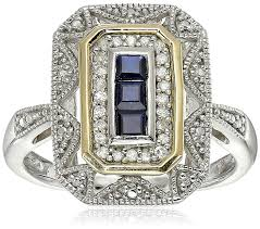 amazon com sterling silver and 14k yellow gold blue sapphire and