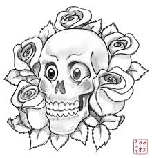 skull with roses sketch by vexille84 on deviantart