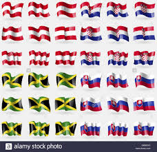 Flags Countries Austria Croatia Jamaica Slovakia Set Of 36 Flags Of The