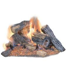 Fireplace Gas Log Sets by Emberglow Burnt River Oak 24 In Vented Dual Burner Natural Gas