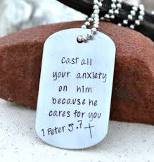 bible verse jewelry cast all your anxiety on him because he cares for you 1 5