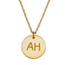 initials necklace 10k yellow gold disc initials necklace 37388 limoges jewelry