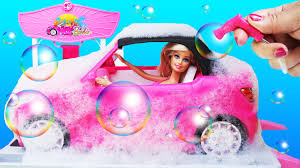 rainbow glitter car barbie car draw stencil patterns soapy bubbles washable markers