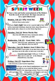 robin u0027s nest spirit week starts monday the robin u0027s nest preschool