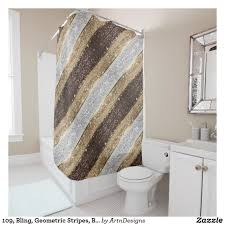 Brown And Gold Shower Curtains 109 Bling Geometric Stripes Brown Silver Gold Shower Curtain