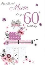 icg mum 60th birthday card lilac text green presents u0026 pink