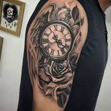 shaded black and grey ink guys roman numeral rose and pocket watch