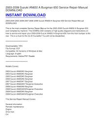 2003 2009 suzuki an650 burgman 650 service repair manual highly