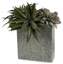 faux green succulent plants in natural grey slate rectangular vase