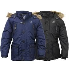 boys parka jacket kangol coat kids padded quilted hooded faux fur