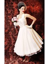 50 s style wedding dresses tea length wedding dresses ivory silk 50s style skirt halter