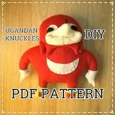 St Valentine Meme - pdf diy sewing pattern for ugandan knuckles handmade plush toy