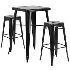 Square Black Metal IndoorOutdoor Bar Table Set With - Indoor outdoor sofas 2