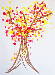 for pointillism fall tree so says