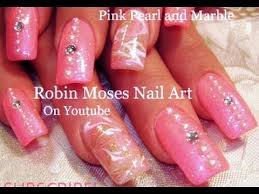barbie pink nail art with pearls and diamonds girly nails design
