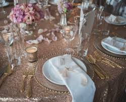 Table Linen Complete Event Hire Rose Gold Sequin Tablecloth And Glass Gold Beaded Charger Plates