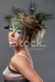 feathers in hair girl with peacock feathers in hair stock photos freeimages