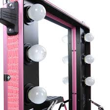 Makeup Artist Station Rolling Studio Makeup Artist Cosmetic Case W 6x 40w Light Bulb