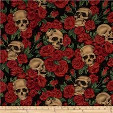 resting in roses skulls roses black discount designer fabric
