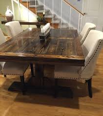 Jacobean Dining Room Set by Farm Table Benches Wood Reclaimed Wood Custom Handmade White