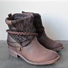 ugg womens emerson boots chestnut clea leather fabric braid detailed wedge ankle boots
