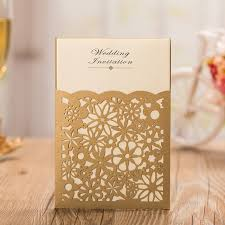 customized wedding invitations gold laser cutting invitation cards gold wedding invitation card