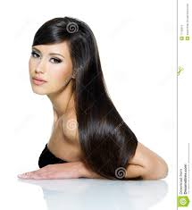 beautiful woman with long straight hair stock photography image