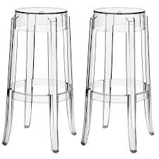 Transparent Acrylic Chairs Amazon Com Modway Casper Bar Stools Set Of 2 In Clear Kitchen