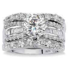 bridal set platinum silver cubic zirconia 3 bridal set