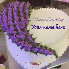 Buttercream Purple Flowers Cake For Birthday With Name