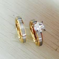 korean wedding rings 4mm titanium steel cz diamond korean rings set for men