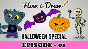 how to draw a halloween pumpkin cat bat u0026 skeleton halloween
