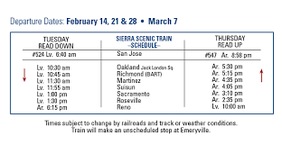 Sacramento Light Rail Schedule Sierra Scenic Train Key Holidays