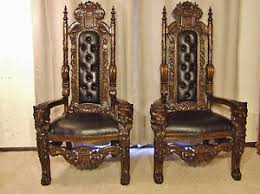 King And Queen Throne Chairs Throne Chair Set Lions Head Queen And King Mahogany Finish Price