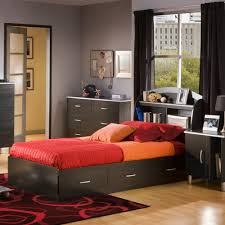 Twin Bed With Storage And Bookcase Headboard south shore cosmos twin mate u0027s bed u0026 headboard by oj commerce