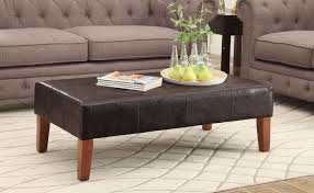 faux leather coffee table large faux leather coffee table brown