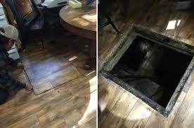cabin floor he opened the eerie trap door in his cabin floor and he can t