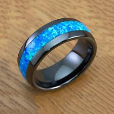 blue opal black ceramic blue opal ring 8mm size 5 happy laulea