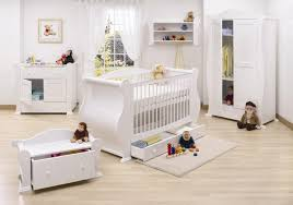 fair image of unisex baby nursery room decoration using all white