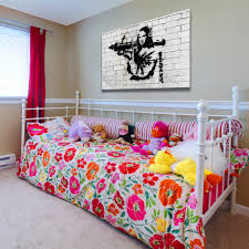 banksy street art mona lisa with a rocket launcher graffiti kids room with girl flowery bed and to