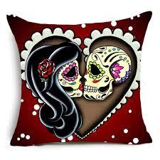 karma flower sugar skull pillow cover thistle oak