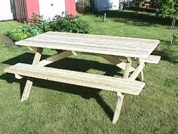 Plans For Picnic Table With Attached Benches by Make A Picnic Table Free Plans