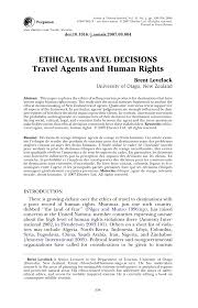 Tourism Resume Ethical Travel Decisions Travel Agents And Human Rights Pdf