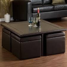Espresso Ottoman Coffee Table Square Espresso Coffee Table With Four Cube Built In Ottoman